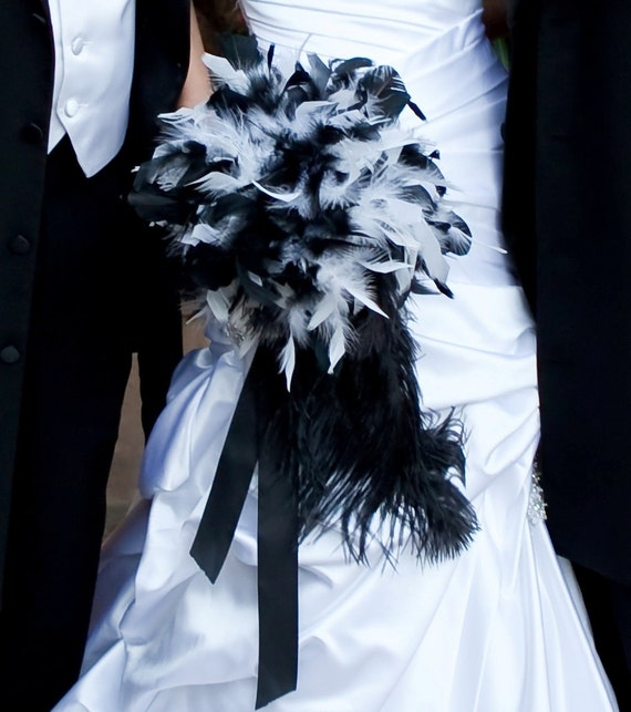 Feather Bride Bouquet White and Black Wedding or Custom Bridal Colors - Crystal Pearl Accents Bouquets - Dramatic Ostrich Tail Feathers
