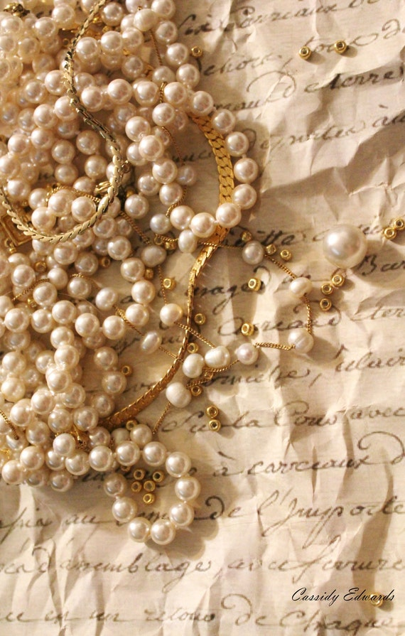 Romantic French Photography, Still Life Photography, Gold and Pearls Print - Vintage Inspired - 4x6 Photo