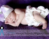 Newborn Hat and Diaper Cover Set, Lilac Ribbons and Ruffles, Newborn Photo Prop, Newborn Girl Hat, Newborn Girl Prop, Hat With Bow And Jewel