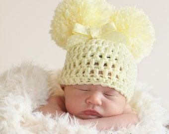 Newborn Pom Pom Hat, Newborn Photo Prop, Baby Hat With Bow, Infant Pom Pom Hat, Yellow Baby Hat, Babies Beanie, Crochet Baby Hat
