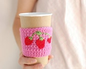 Strawberry Cup Cozy, Crochet Coffee Sleeve, Reusable Coffee Cozy, Pink with strawberries by The Cozy Project