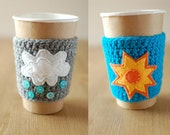 Rain and shine coffee cozies by The Cozy Project