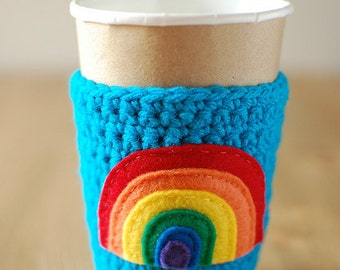 Rainbow Cup Cozy, Crochet Coffee Sleeve, Reusable Coffee Cozy, Rainbow cup cozy by The Cozy Project