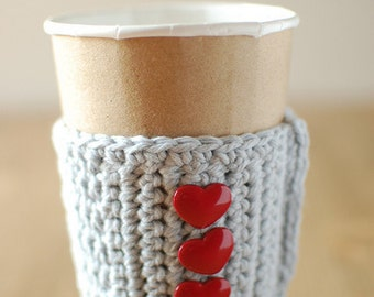 HEART Coffee cozy for VALENTINES, Coffee COZIES, Gray with red heart buttons by The Cozy Project