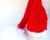Newborn Santa Hat Christmas Hat knitted Elf Hat- Photography Prop Elf Hat Ready to Ship