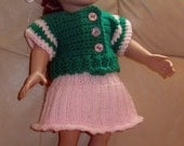 18 Inch Doll Sunday Brunch At Grandma's Sweater Skirt Hat Set - Girl Doll Clothes - Green Pink Doll Set - Item 3055