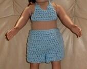 18 Inch Doll Shorts, Halter Top, Cap - Doll Beach Wear - Summer Doll Shorts Outfit - Doll Cruise Wear - Doll Vacation Wear - Item 3056