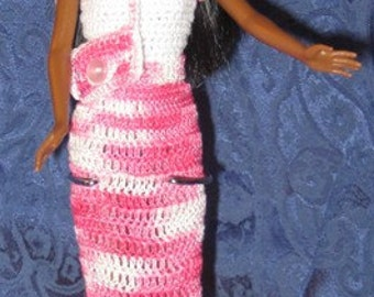 Fashion Doll Pretty in Pink - Includes Doll, Costume, and Stand - Black Fashion Doll - Easter Dress Bonnet Purse Shoes Doll Stand -Item 3048