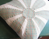Lumbar Pillow Cover 12 x 16 OOAK Decorative Throw Pillow Daisy Appliquéd UPCYCLED one of a kind