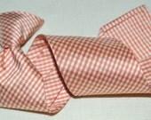 Necktie, boys, toddler, 100% silk necktie, orange gingham, clip, handmade, FREE Shipping USA