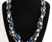 Indigo Wave with Cherry Blossoms, semiprecious stones necklace