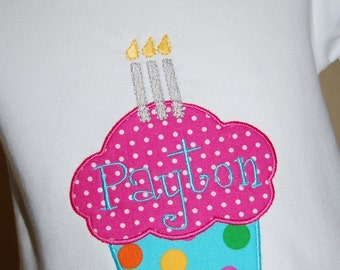 INSTANT DOWNLOAD, Machine Applique Design, Cupcake with One, Two and Three Candles