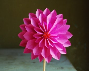 Hot Pink Dahlia, Mothers day Gift, Paper Flower Ornament, Origami Flower on a stem