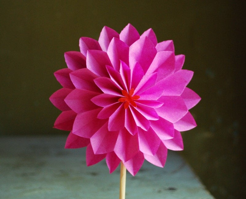 hot pink dahlia mothers day gift paper flower by paperaltar