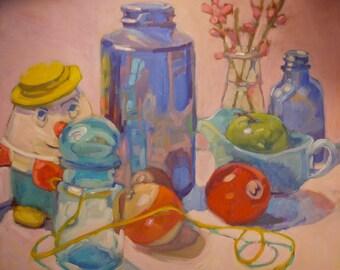 Oil Painting Pool Balls Blue Bottles Toys
