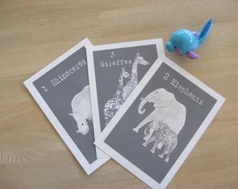 Nursery Art, illustration Prints, Giclee prints, three African Animals