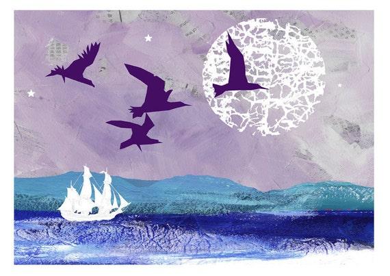 Sea print, Moon art, Ghost Ship in the Moonlight, Illustration Print, giclee print