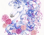 "Unicorn Print ""Ribbons and Roses"" Fantasy Art"