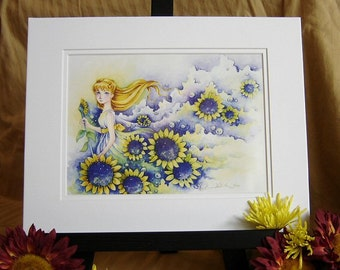 """Girl With Sunflowers Fantasy Art 11x14 MATTED Print """"Yellow"""""""