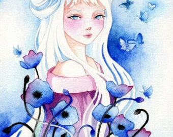 "Fantasy Art 8x12 Print ""Blue Poppies"", Girl and Butterflies"