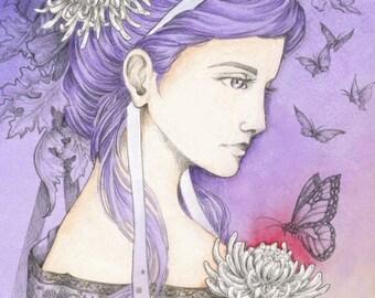 "Fantasy Victorian Art 5x7 Print ""Chrysanthemum"""