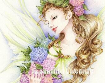 "Fairy Art 5x7 Print ""Hydrangea"" Fantasy Art"