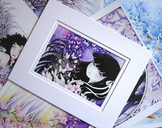 "Fantasy Anime 8x10 MATTED Art Print ""Set Me Free"""