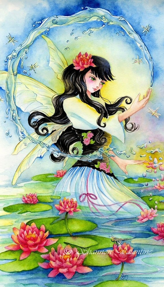 "Fairy Art 8x10 MATTED Print ""Water Lily Fae"" Fantasy Art"