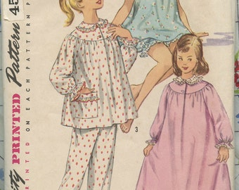 1950s Vintage Sewing Pattern Simplicity 1828 Girls Pajamas and Nightgown Size 14 Breast 32 UNCUT
