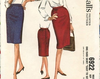 1960s McCall's 6922 Misses' Slim One-Yard Wiggle Skirt Vintage Sewing Pattern Waist 26