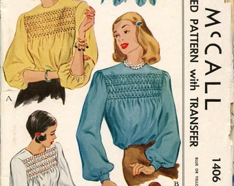 1940s McCall 1406 Misses Blouse with Smocking Vintage Sewing Pattern Bust 30