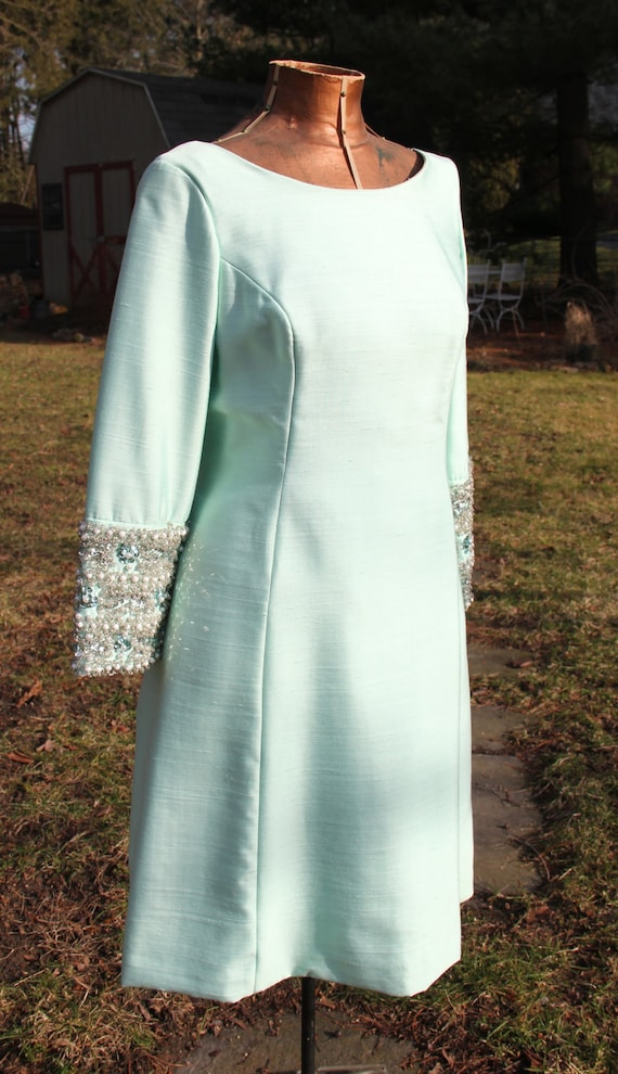 Vintage 1960s Mint Green Long Sleeve Cocktail Evening Dress