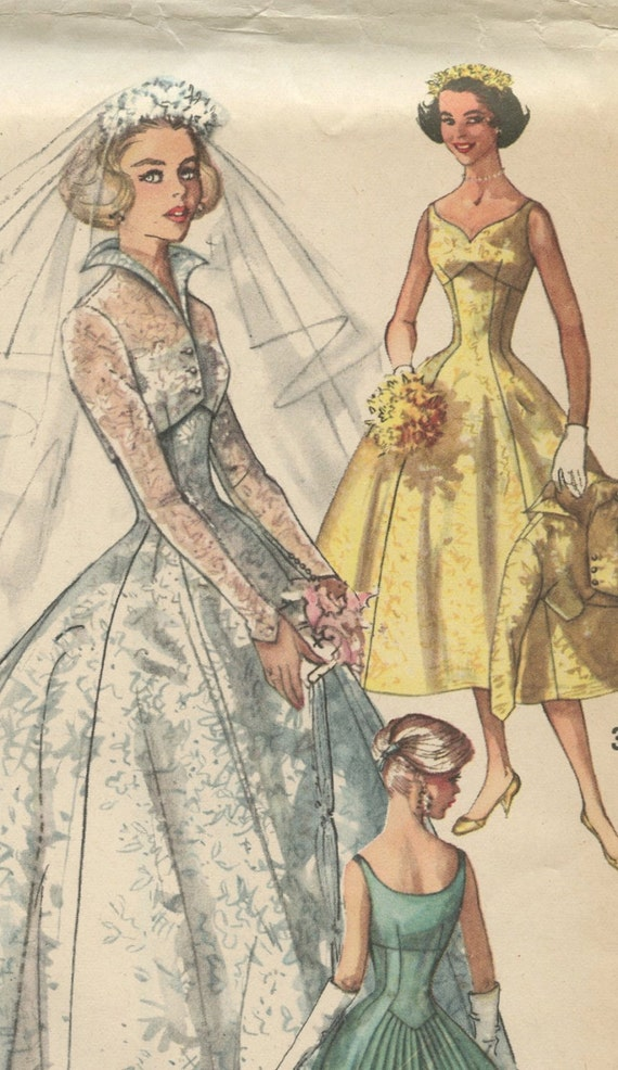 1950s simplicity 2066 vintage wedding dress pattern for Wedding dress patterns vintage