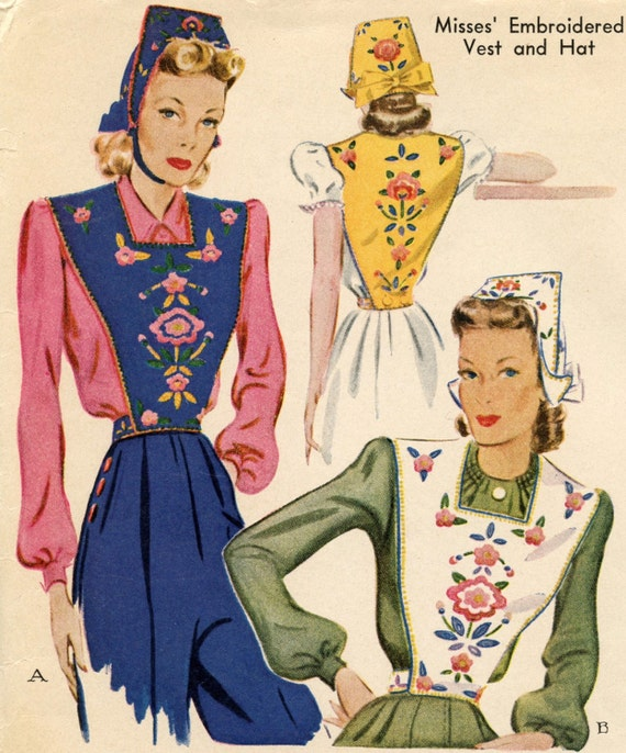 1940s McCall 969 Vintage Sewing Pattern Misses' Embroidered Vest and Hat Small