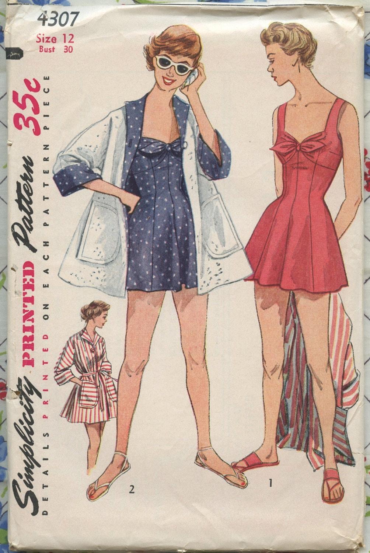 1950s Vintage Swimsuit Pattern Simplicity 4307 Misses One