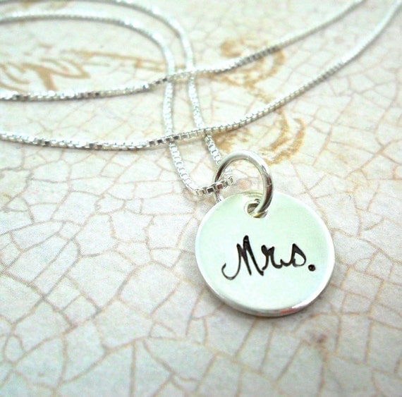 Mrs. Jewelry | Mrs. Necklace | Wedding Shower Gift | Bridal Shower Gift | Gift for the Bride | Gift for Wife | Sterling Silver | Engraved