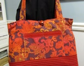 Over the top Organized Purse or handbag with tons of pockets Orange & Rust