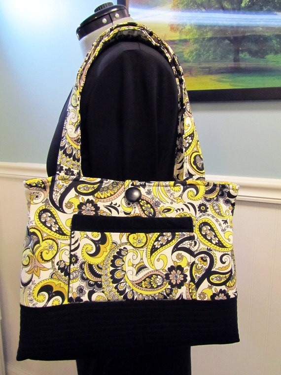 Over the top Organized Purse or handbag with tons of pockets. Bee Happy Yellow Black Tan