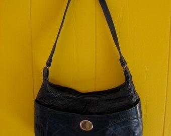Vintage Monogrammed Navy Patchwork Purse Letter M Shoulder Bag