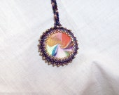 Polymer Swirl Bead Beaded Pendant Necklace Free U.S. Shipping