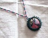 Polymer Clay Beaded Pendant Necklace Free U.S. Shipping