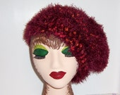 Berry Merry Bulky Knit Hat Knobby Fur Hat Autumn Colors