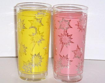 60s Vintage Frosted Painted Glasses Snowflake