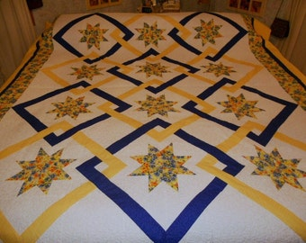 Quilt Queen Eight Pointed Stars Springtime Yellow Daffodils