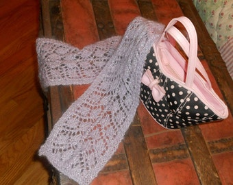 Fancy Lace Knit Leaf Pattern Scarf Lavender
