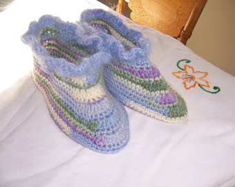 Slippers Ladies Crochet Pastel Medium