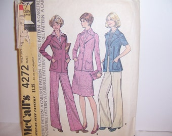 Half Size Pattern McCall's 4272 Three Piece Suit Size 16 1/2, 36 Bust Used Free U.S. Shipping