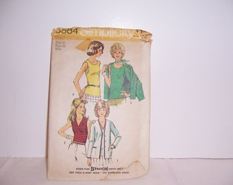 1973 Simplicity 5584 Retro Top And Jacket Pattern Size 10 Uncut Free USA Shipping
