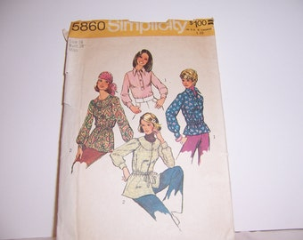 1973 Simplicity 5860 Retro Top Pattern Size 16 Cut Used Free USA Shipping