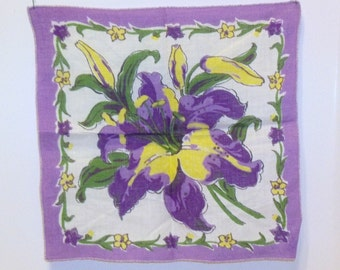Lilies Bouquet in Purples Greens and White with a touch of Yellow  Ladies Handkerchief Hankie
